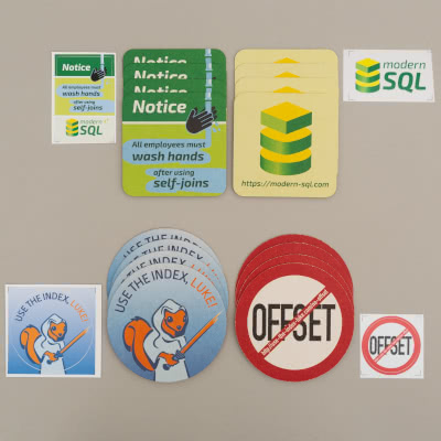 8x Use The Index, Luke, 8x Modern SQL coasters and 4 stickers