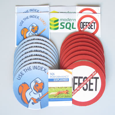 SQL Performance Explained [PDF], coasters, stickers