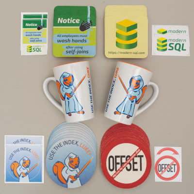Use The Index, Luke mugs, coasters, stickers and SQL Performance Exlained PDF
