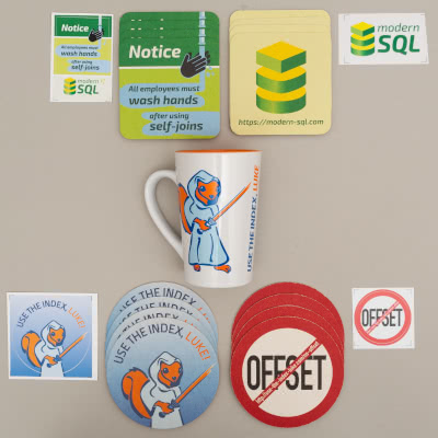 Use The Index, Luke mug, coasters, stickers and SQL Performance Explained PDF