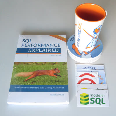 Use The Index, Luke mug, coasters, stickers and SQL Performance Explained