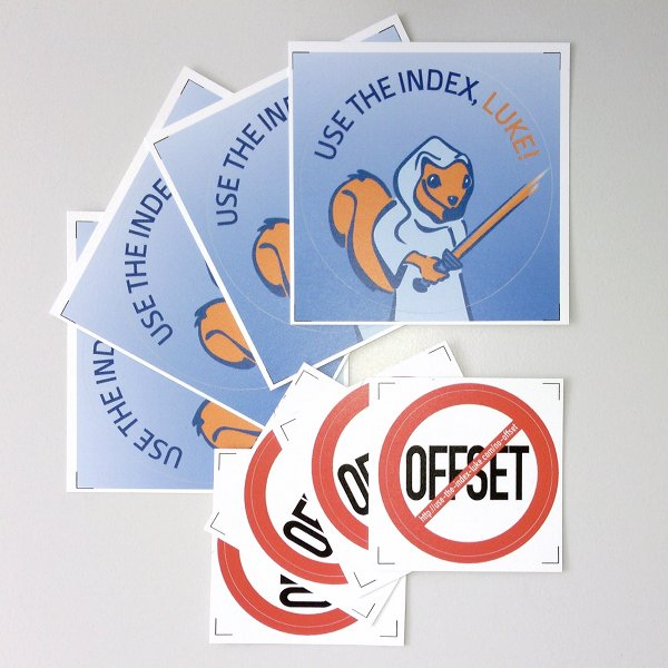 4x Use The Index, Luke and 4x NoOffset sticker